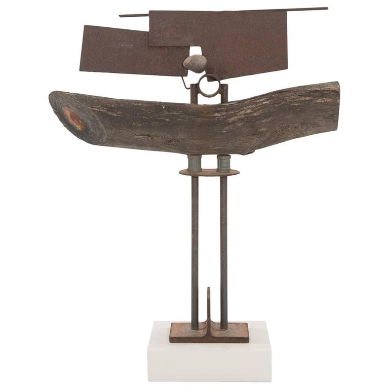 Wood Patinated Steel and Stone Sculpture by Rick Lussier