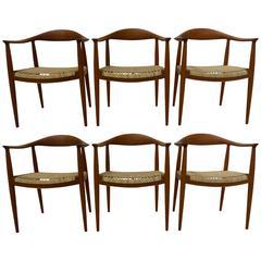 Hans Wegner Set of Six Round Chairs in Teak