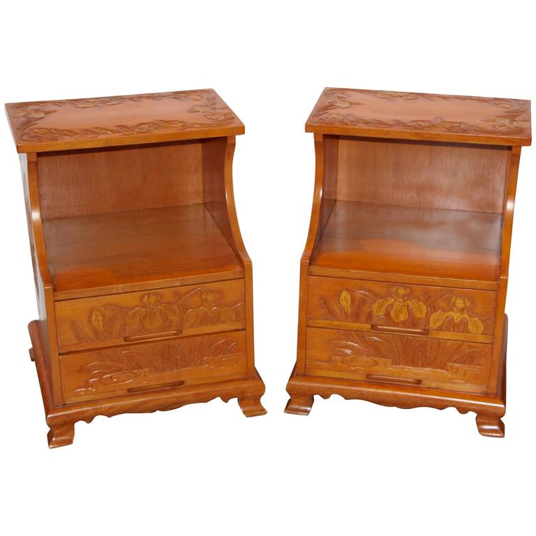 A Most Unusual pair of Carved Japanese Maple Nightstands