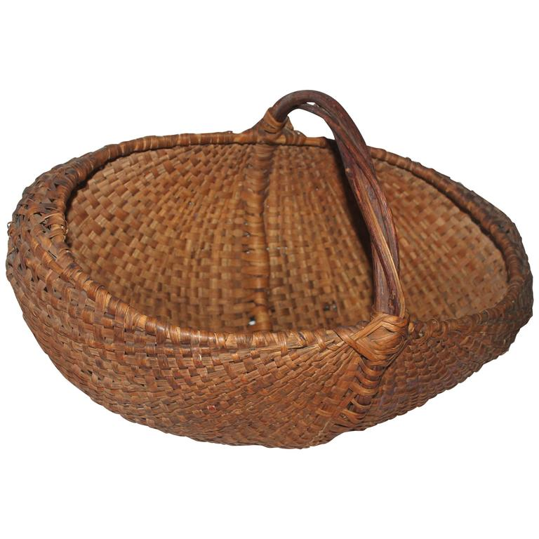 Monumental 19th Century Gathering Buttocks Basket For Sale