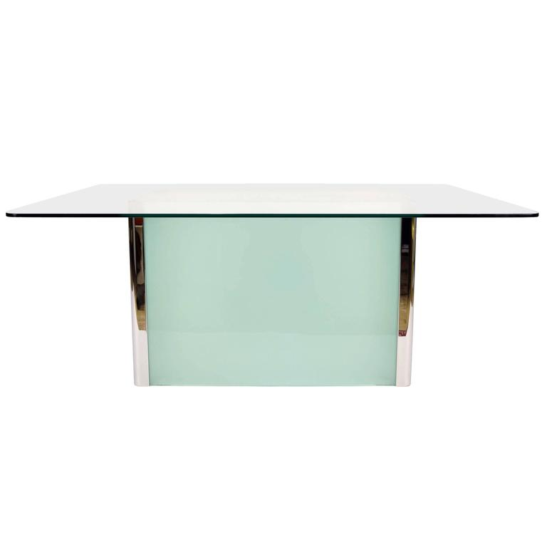 Pace collection dining table with frosted glass base at for Frosted glass dining table
