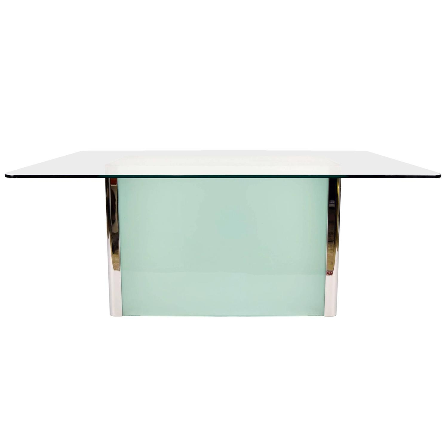 Pace collection dining table with frosted glass base for sale at 1stdibs Frosted glass furniture