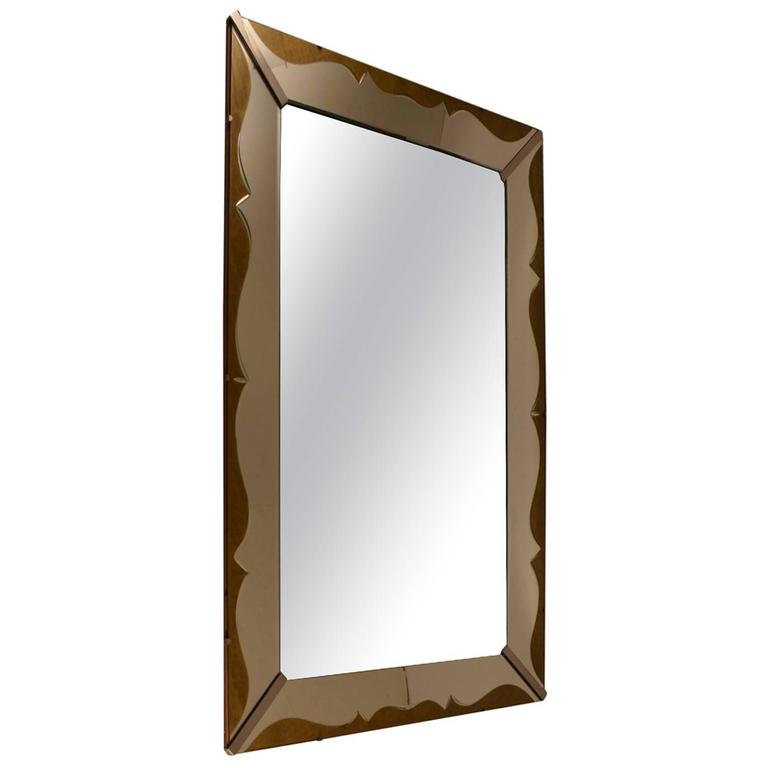 Art Deco Venetian Style Mirror with Decorative Églomisé Trim