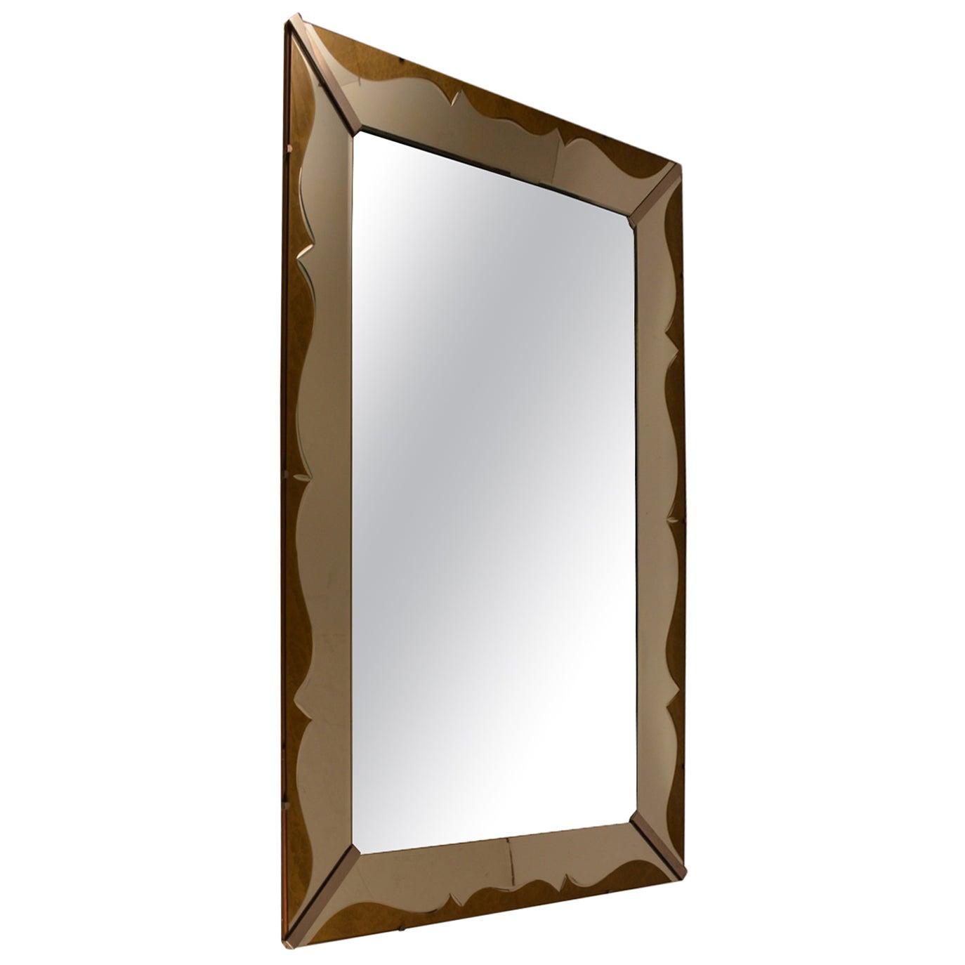 Art Deco Venetian Style Mirror with Decorative Églomisé Trim