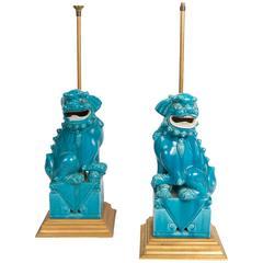 Pair of Ceramic Foo Dog Lamps