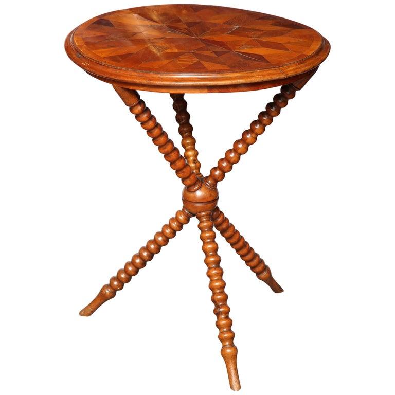 Specimen Table with Bobbin Legs For Sale
