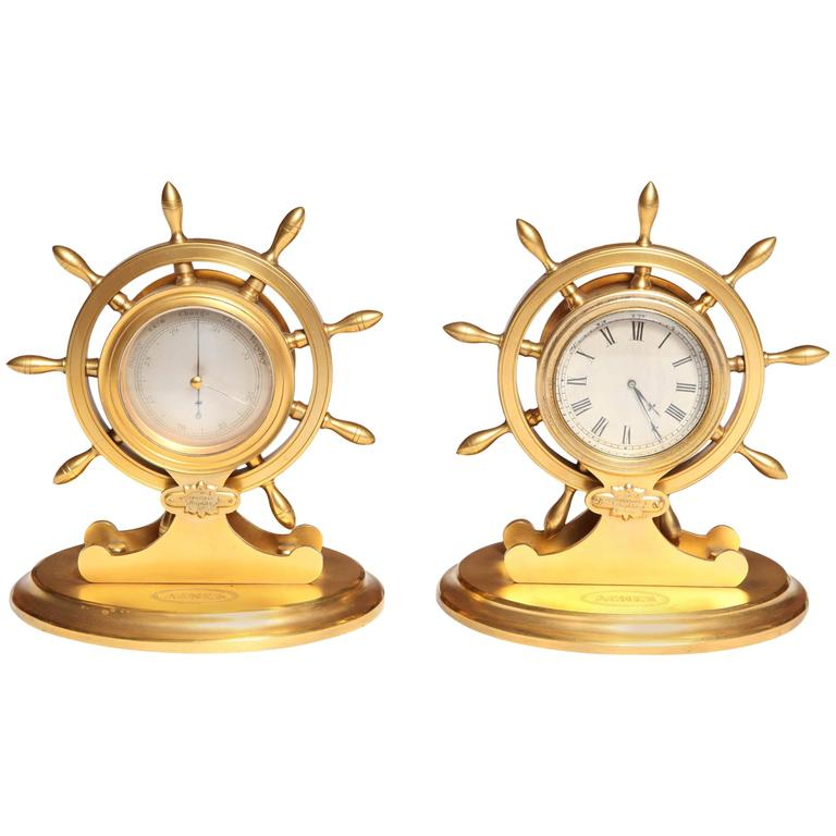 Trussel of Brighton Clock and Barometer For Sale