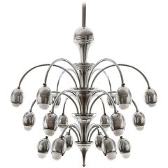 Art Deco Chandelier, Nickel, 1930s