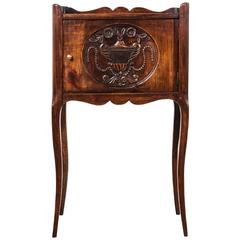 Antique French Hand-Carved Walnut Nighstand with Slim Cabriole Legs