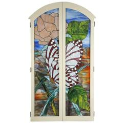 Pair of Beautiful Stained Glass Windows with Butterfly
