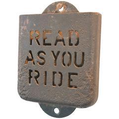 Early 20th Century Iron Public Transportation Pamphlet Holder