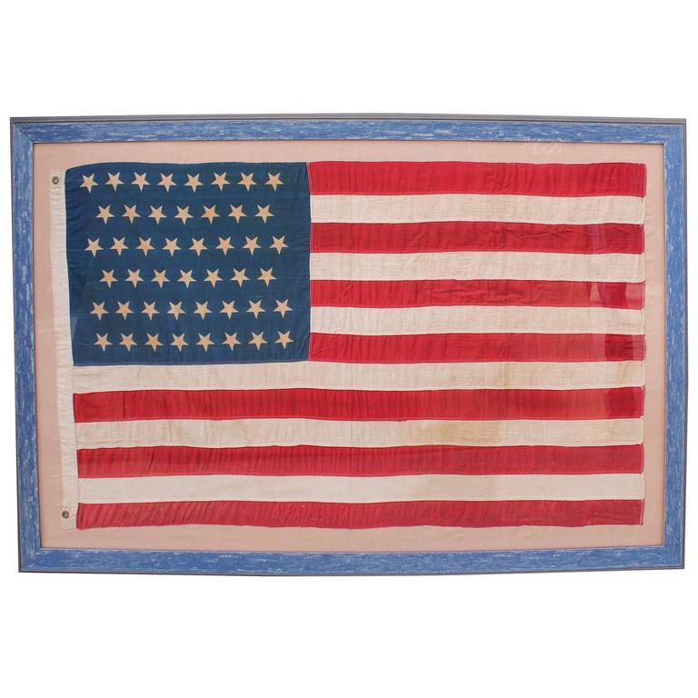 Monumental 46 Star Framed American Flag from 1909 at 1stdibs