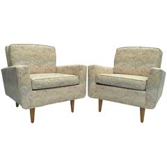 Pair of Midcentury Florence Knoll International Lounge Chairs with Birch Legs