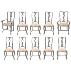 Gustavian Style Painted Dining Room Chairs Set of Ten