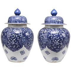 Pair of Blue and White Chinese Export Porcelain Jars with Covers