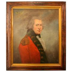 """1783 Oil on Canvas Painting of """"Major Charles Savage"""" in Redcoat Army Uniform"""