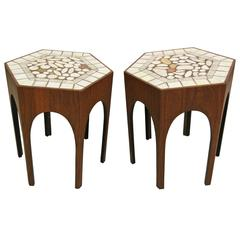 Pair of Midcentury Harvey Probber Walnut and Tile Hexagonal Side Tables