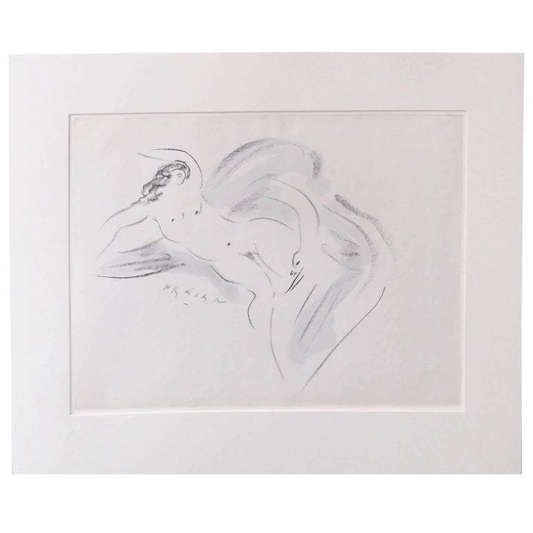 Watercolor Gouache, Artist Signed, Leda and the Swan For Sale