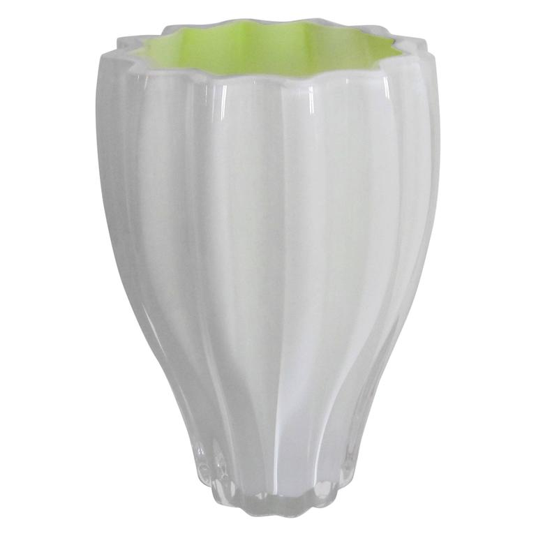 Scandinavian White and Yellow Art Glass Fluted Vase by Kosta Boda, Sweden