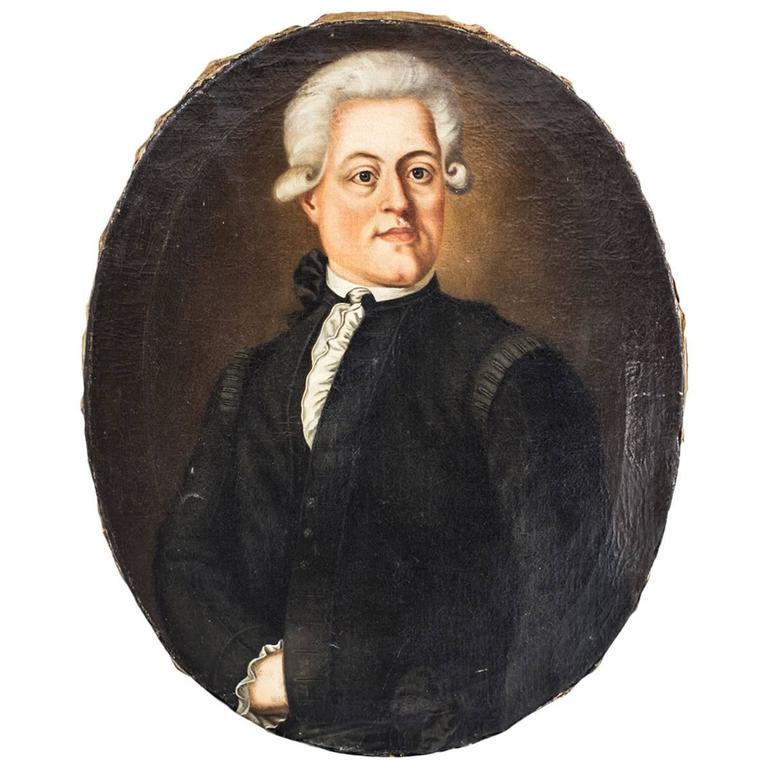 Portrait Swedish Oval Baroque 18th Century Sweden 1