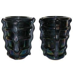 Cenedese Superb Pair of Glowing Iridescent Black Murano Glass Vases