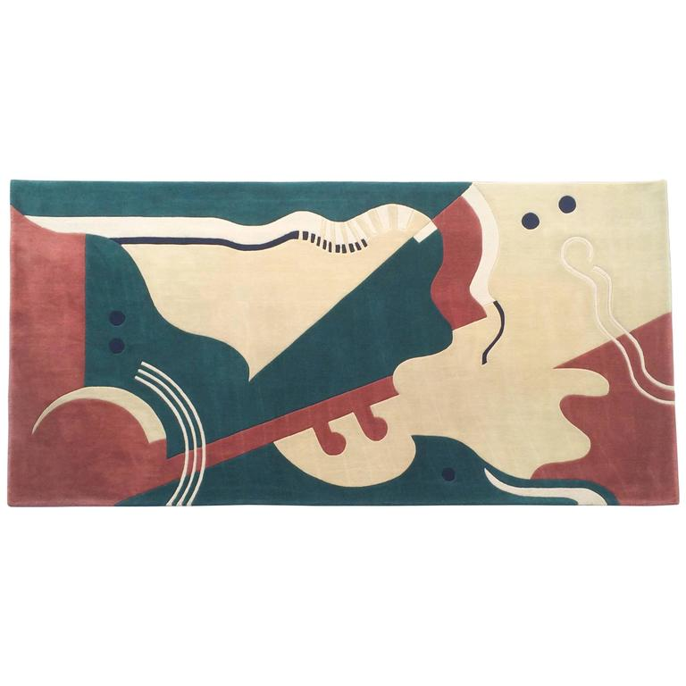 Virgin Wool Abstract Rug by Edward Fields
