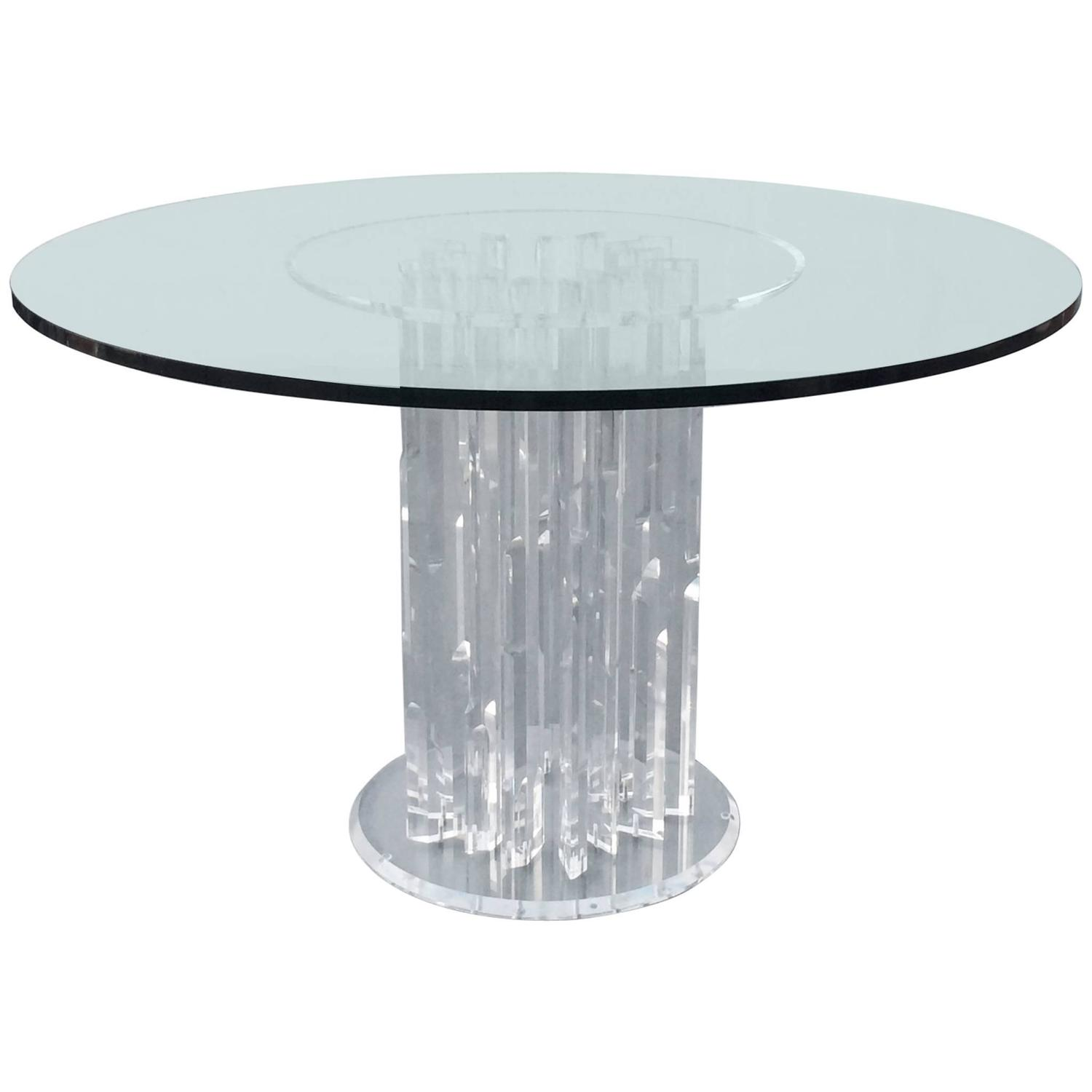 Acrylic And Glass Dining Table, Circa 1970s For Sale At
