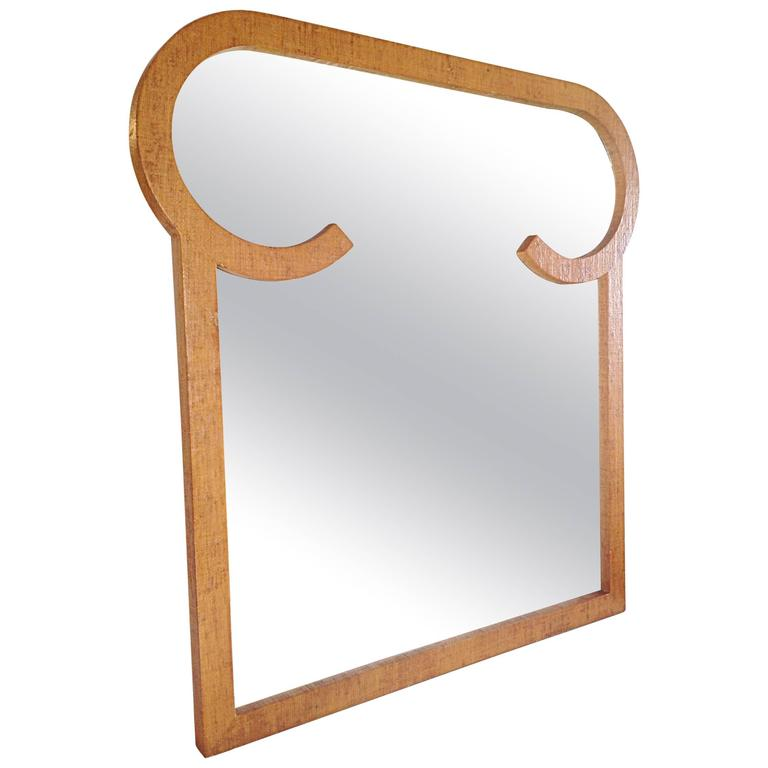 Shaped Grass Cloth Covered Mirror