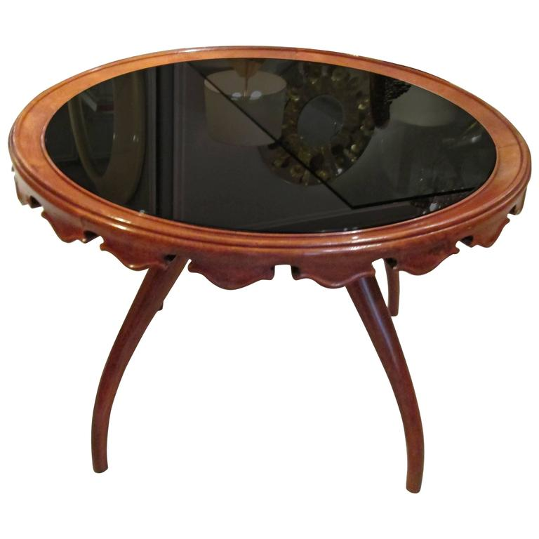 Italian Mid-Century Modern Glass-Top Coffee Table With