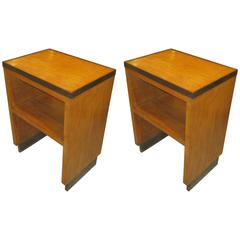 Pair of French 1940s Oak End Tables/ Nightstands