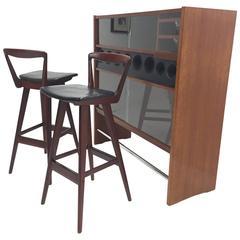 Danish Modern Teak Bar by Poul Heltborg, two Henry Rosengren Hansen Barstools