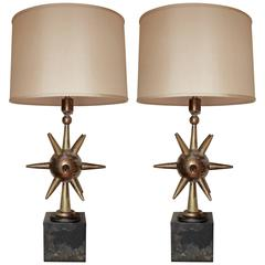 Stunning Pair of Solid Brass Lamps by Arturo Pani, Mexico City,1950's.