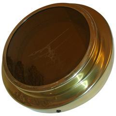 Brass Op Art Infinity Mirror Clock by C Jere