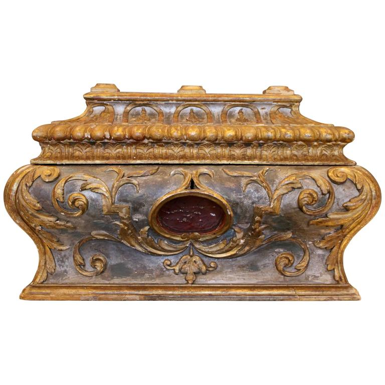 18th Century Italian Wooden Carved Sarcophagus-Shaped Chest with Reliquary For Sale