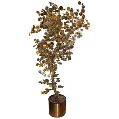 Curtis Jere Brass Raindrop Tree Sculpture