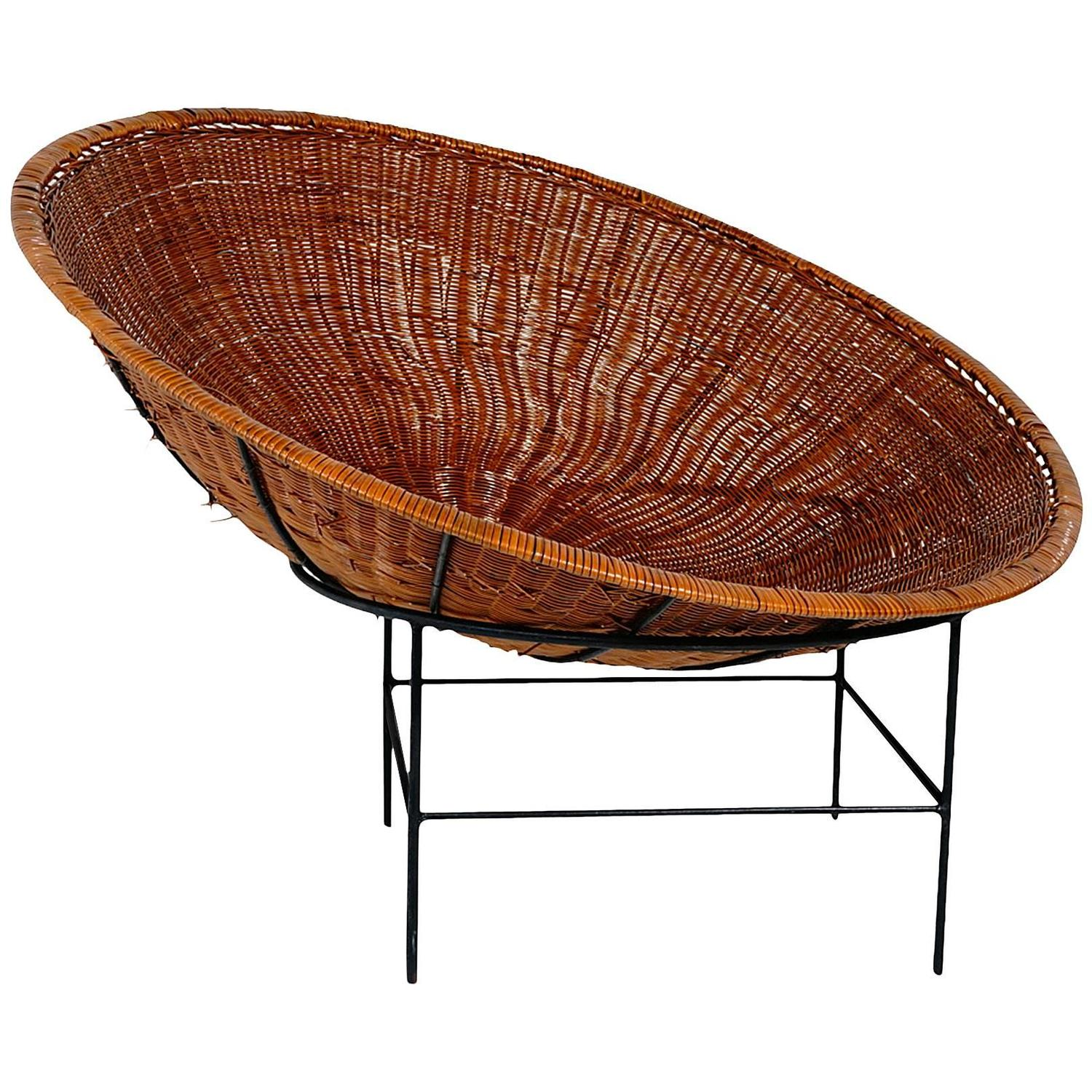 Rattan Nest Chair Large California Modern Iron And Rattan Birds Nest Hoop  Chair At 1stdibs