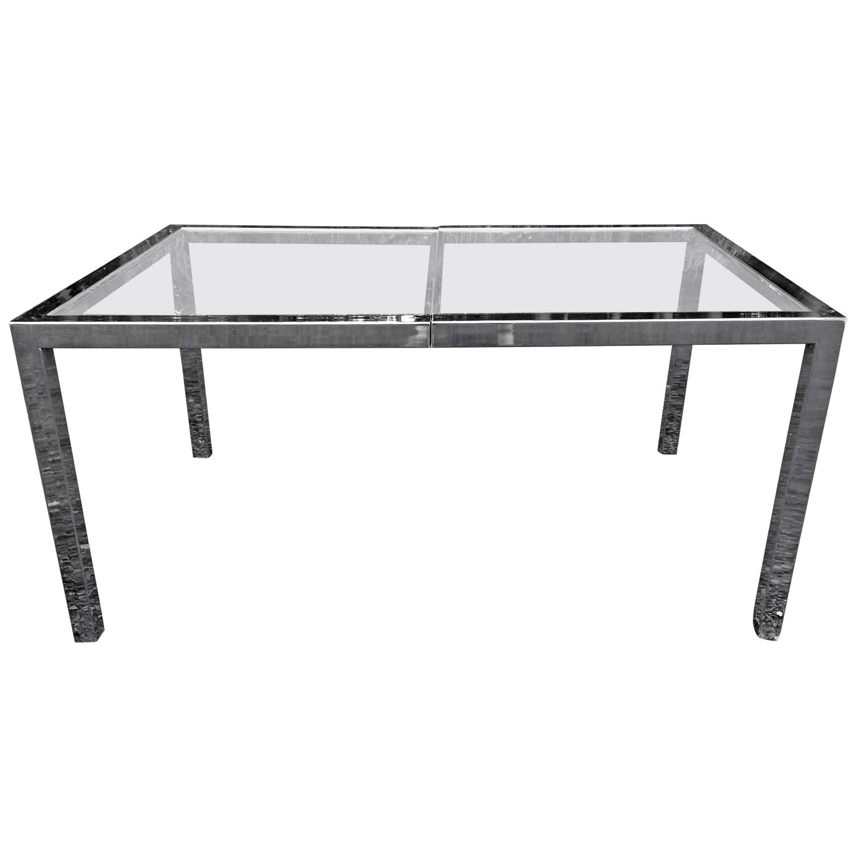 milo baughman chrome and glass dining table or desk for sale at 1stdibs. Black Bedroom Furniture Sets. Home Design Ideas
