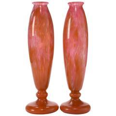 Pair of Charles Schneider Art Deco Glass Vases, circa 1915