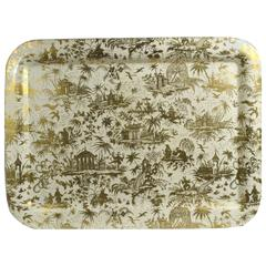 Large Piero Fornasetti Chinoiserie Metal Tray with Piccolo Coramandel Pattern