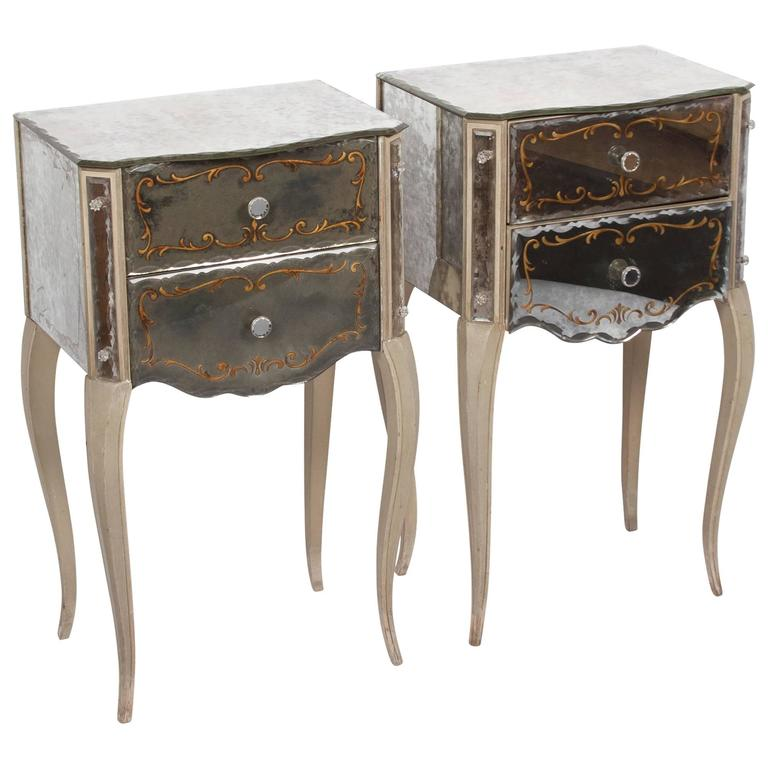 mirrored glass nightstands by marchand american 1940s at 1stdibs. Black Bedroom Furniture Sets. Home Design Ideas