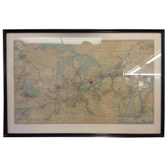Framed New York Central Railway Map Original from 1943 with Railway Label