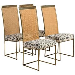 Set of Four Milo Baughman Rattan-Back Dining Chairs, 1970s