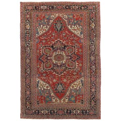 Antique Persian Heriz Carpet,Handmade Wool Oriental Rug, Red and Navy Light Blue