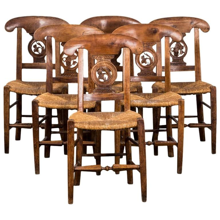 Chairs Set of Six Dining Chairs 19th Century France