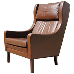 Brown Leather Highback Armchair after Børge Mogensen