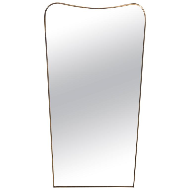 Mid-Century Italian Modern Bevelled Mirror with Brass Frame, Italy, circa 1950 For Sale