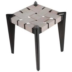 Modern Woven Leather and Wood Stool