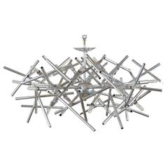 Custom Angular Momentum Chandelier with a Polished Nickel Finish by Lou Blass
