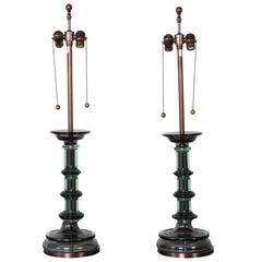 Pair of Green Sommerso Murano Lamps by Marbro