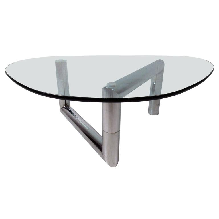 Charles Modern 47 Square Glass Top Coffee Table W: Midcentury Chrome And Glass Coffee Table At 1stdibs